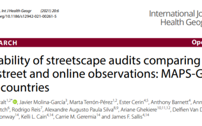 Reliability of streetscape audits comparing on‐street and online observations: MAPS-Global in 5 countries